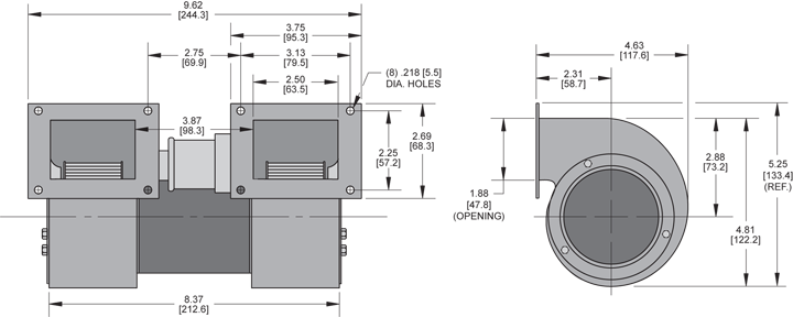 KBB25-25 Double Blower general arrangement drawing