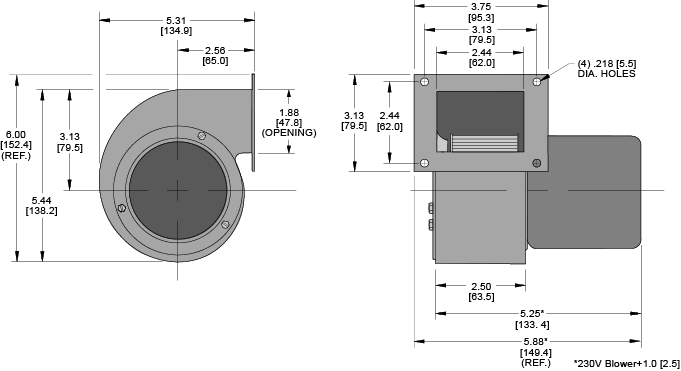 KBB30 Single Blower general arrangement drawing