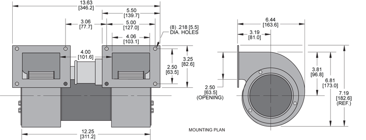 KBB37-37 Double Blower general arrangement drawing