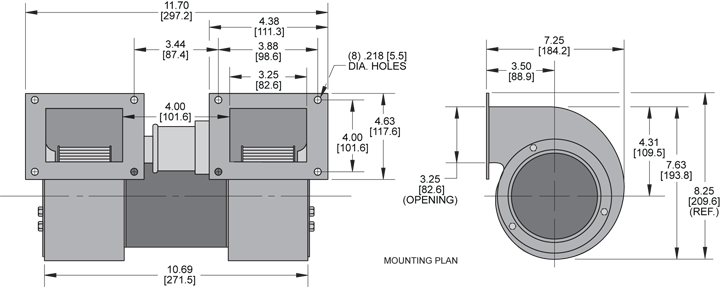 KBB43-43 Double Blower general arrangement drawing