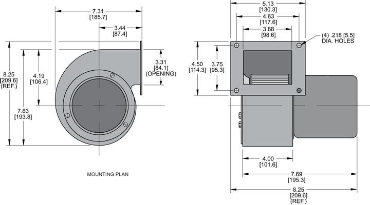 KBB43 Single Blower general arrangement drawing