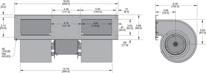 KBB435 Quad. Blower general arrangement drawing