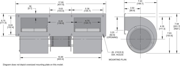 KBB443 Quad. Blower general arrangement drawing