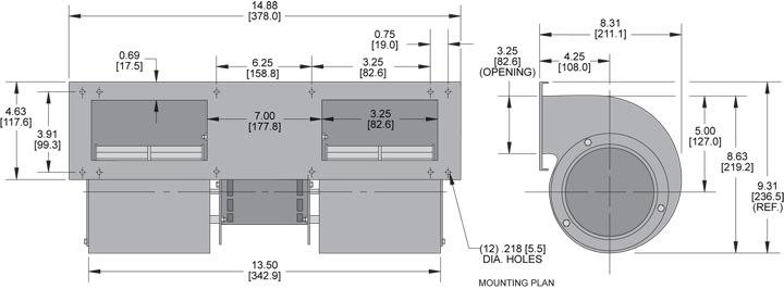 KBB451 Quad. Blower general arrangement drawing