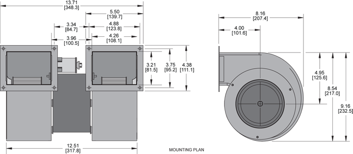 KBB50-50 Double Blower general arrangement drawing