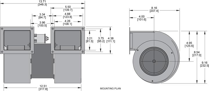 KBB50-50 Double Blower general arrangement drawing