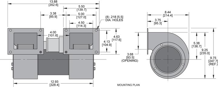KBB57-57 Double Blower general arrangement drawing