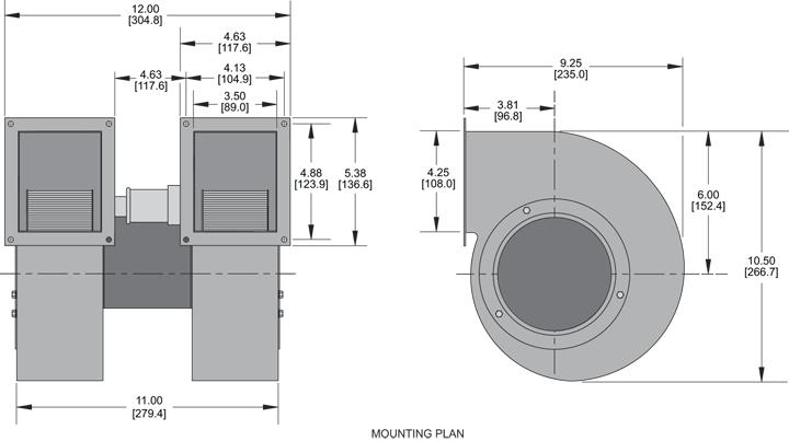 KBB60-60 Double Blower general arrangement drawing