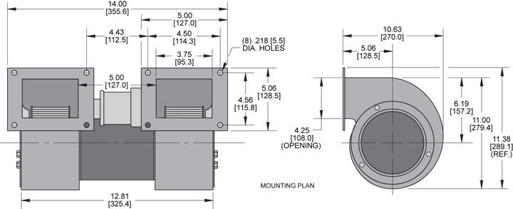 KBB64-64 Double Blower general arrangement drawing