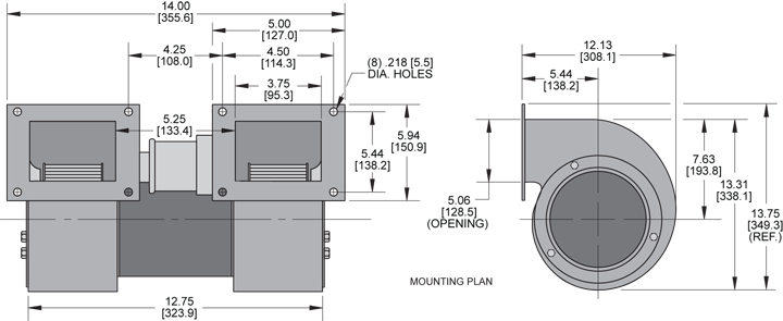 KBB80-80 Double Blower general arrangement drawing