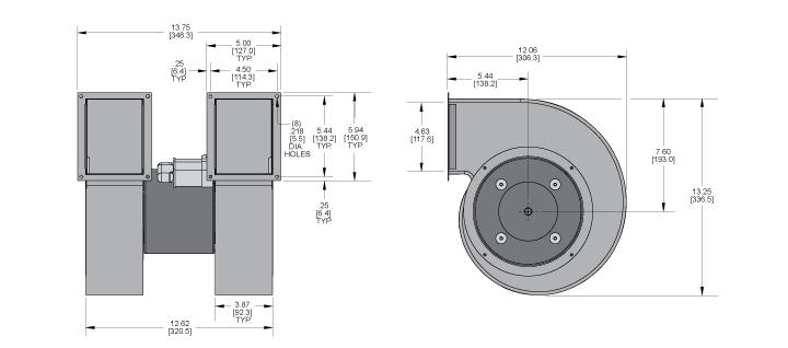KBB80-80 Double Blower general arrangement drawing