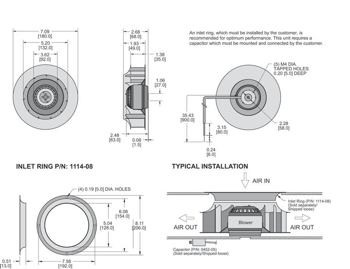 KBC2E180/35A Impeller general arrangement drawing