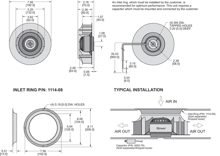 KBC2E192/40A Impeller general arrangement drawing