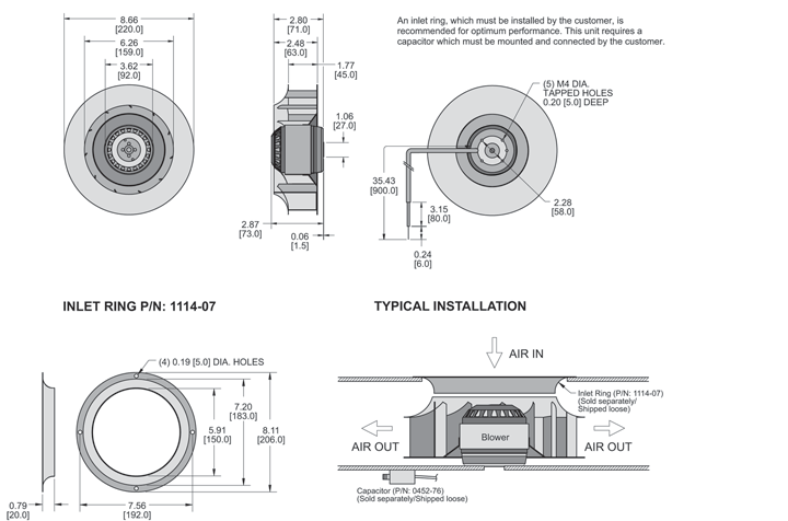 KBC2E220/45C Impeller general arrangement drawing