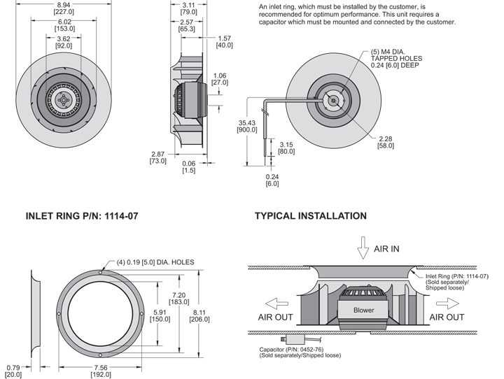 KBC2E225/40A Impeller general arrangement drawing
