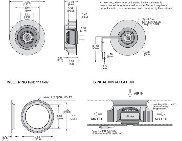 KBC2E225/63B Impeller general arrangement drawing