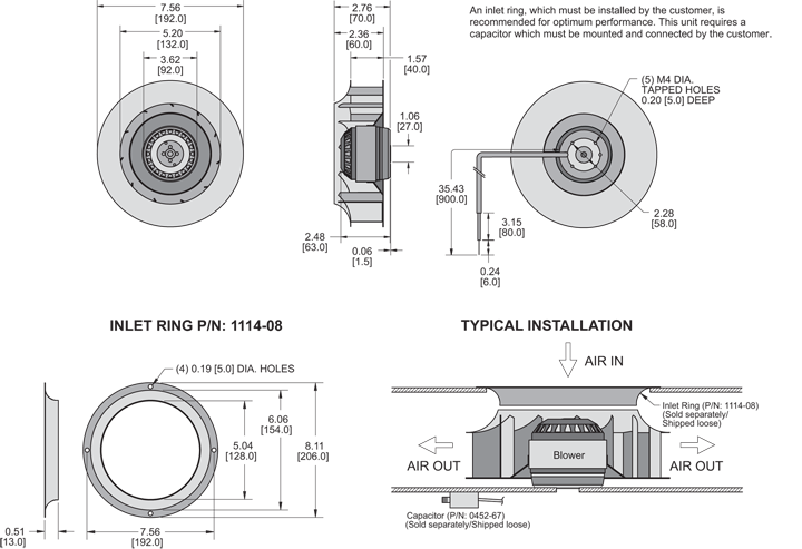 KBC4E192/40A Impeller general arrangement drawing