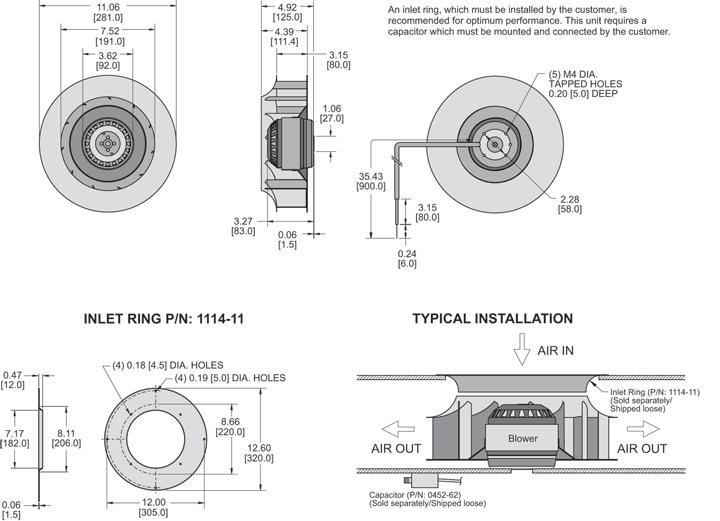KBC4E280/80B Impeller general arrangement drawing