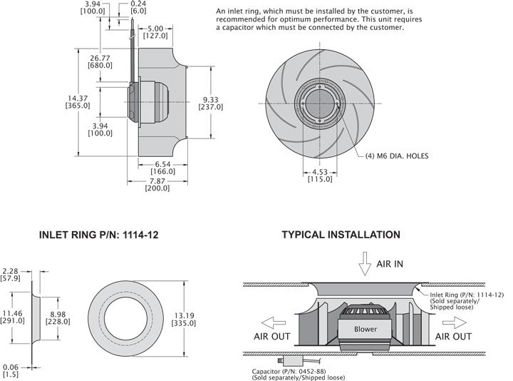 KBC4R355/127A Impeller general arrangement drawing
