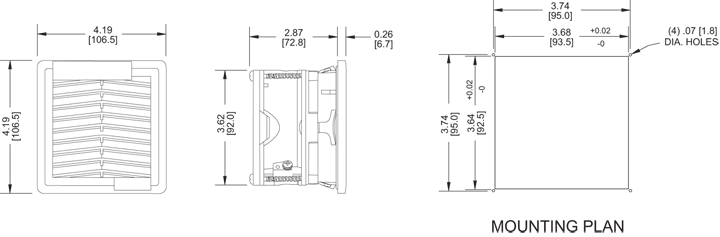 KFF08 Filter Fans general arrangement drawing