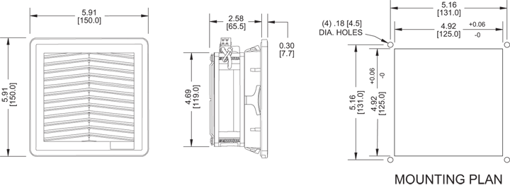 KFF12 Filter Fans general arrangement drawing