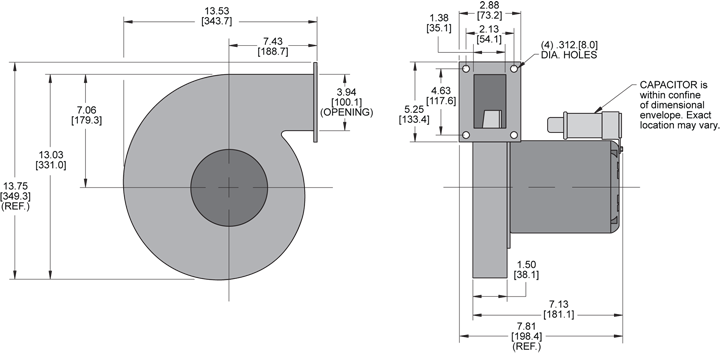 KBR100 Radial Blower general arrangement drawing