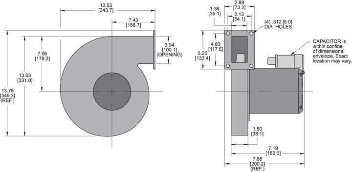 KBR125 Radial Blower general arrangement drawing