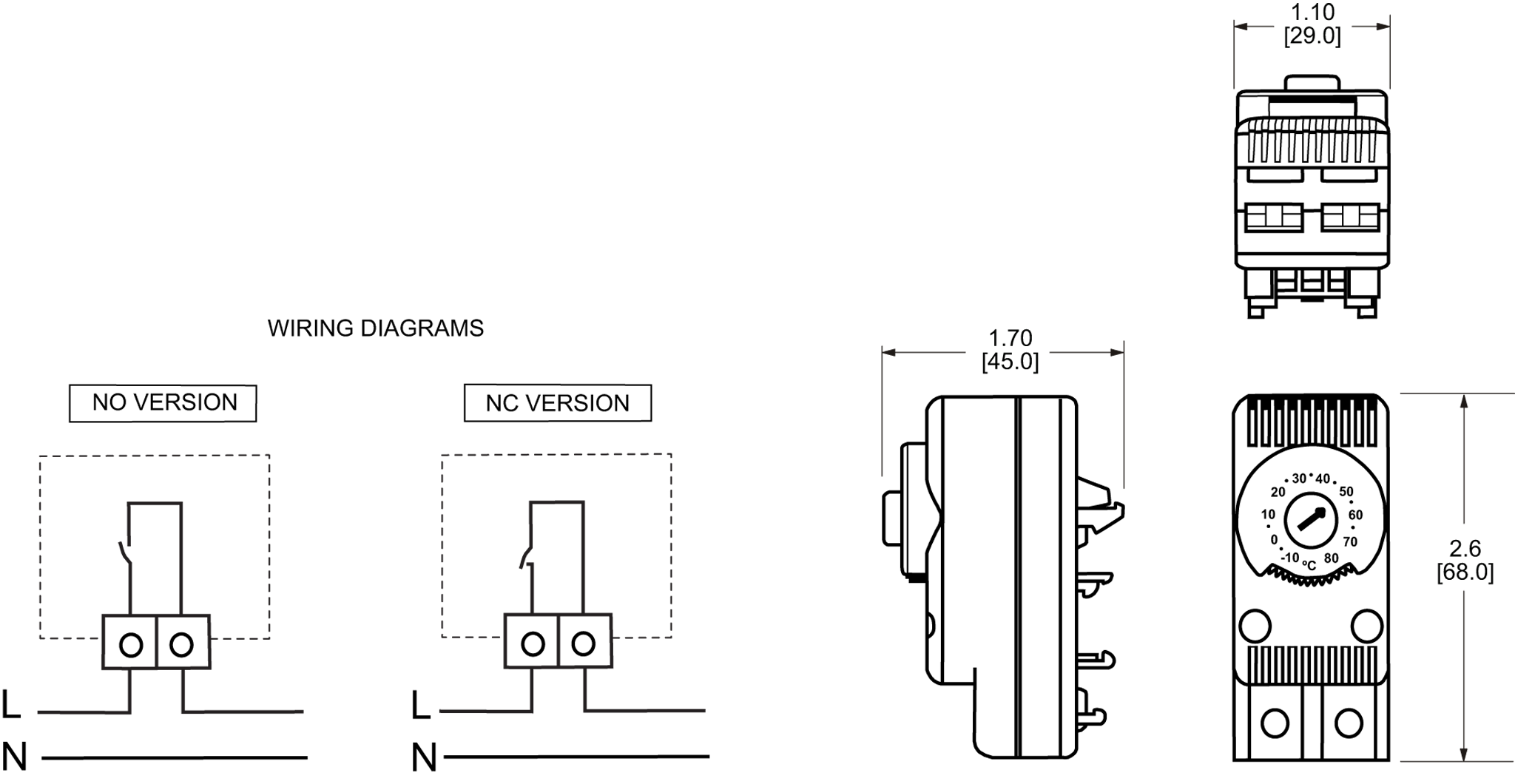 Mechanical Thermostat General Arrangement Drawing