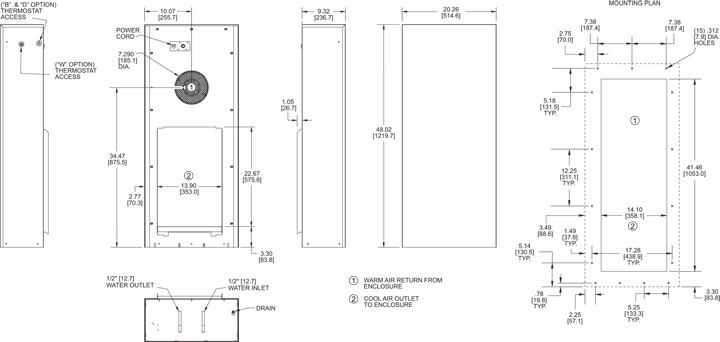 KNHE48 Heat Exchanger general arrangement drawing