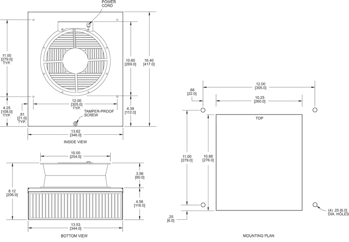 KNP100F Filter Fans general arrangement drawing