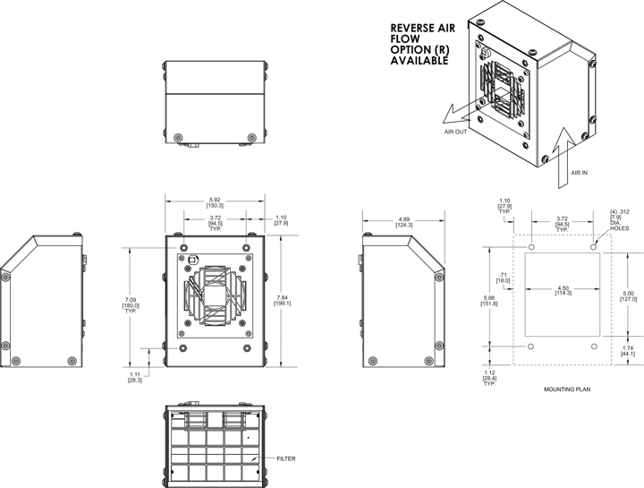 KNP36FL Filter Fans general arrangement drawing
