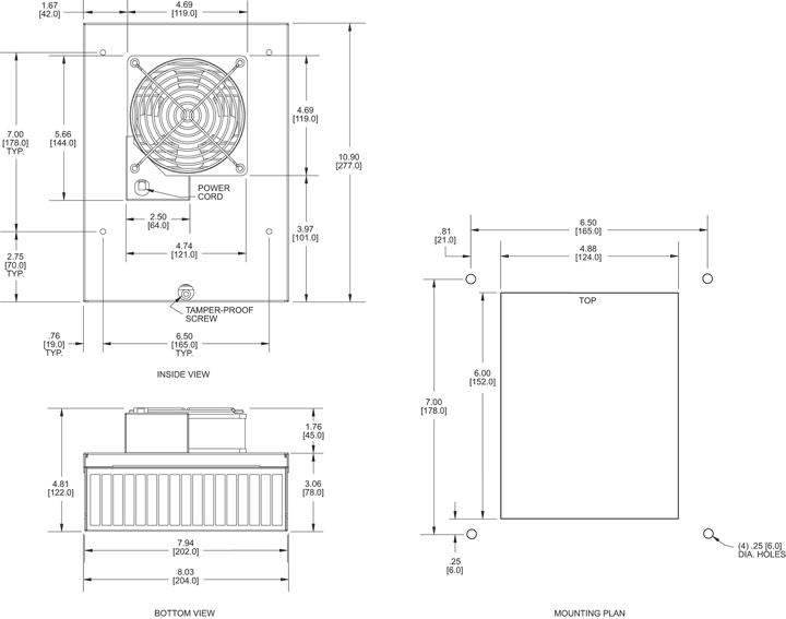 KNP40F Filter Fans general arrangement drawing