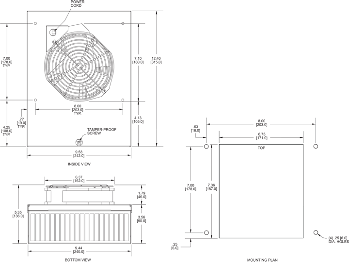KNP60F Filter Fans general arrangement drawing