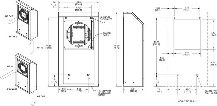 KNP60FL Filter Fans general arrangement drawing