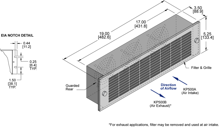 KP500 Packaged Fan general arrangement drawing
