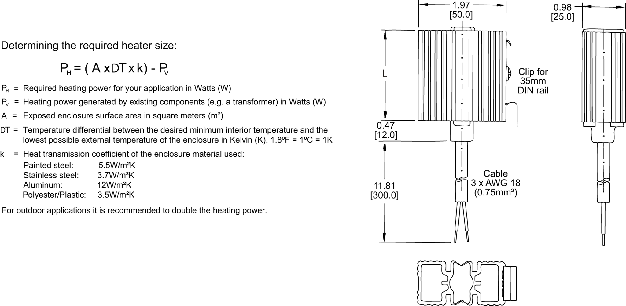 Fan Heater General Arrangement Drawing