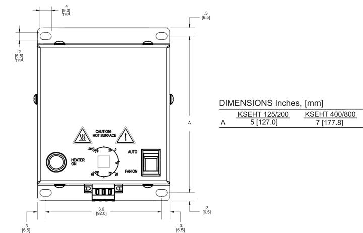 Fan Heater General Arrangement Drawing