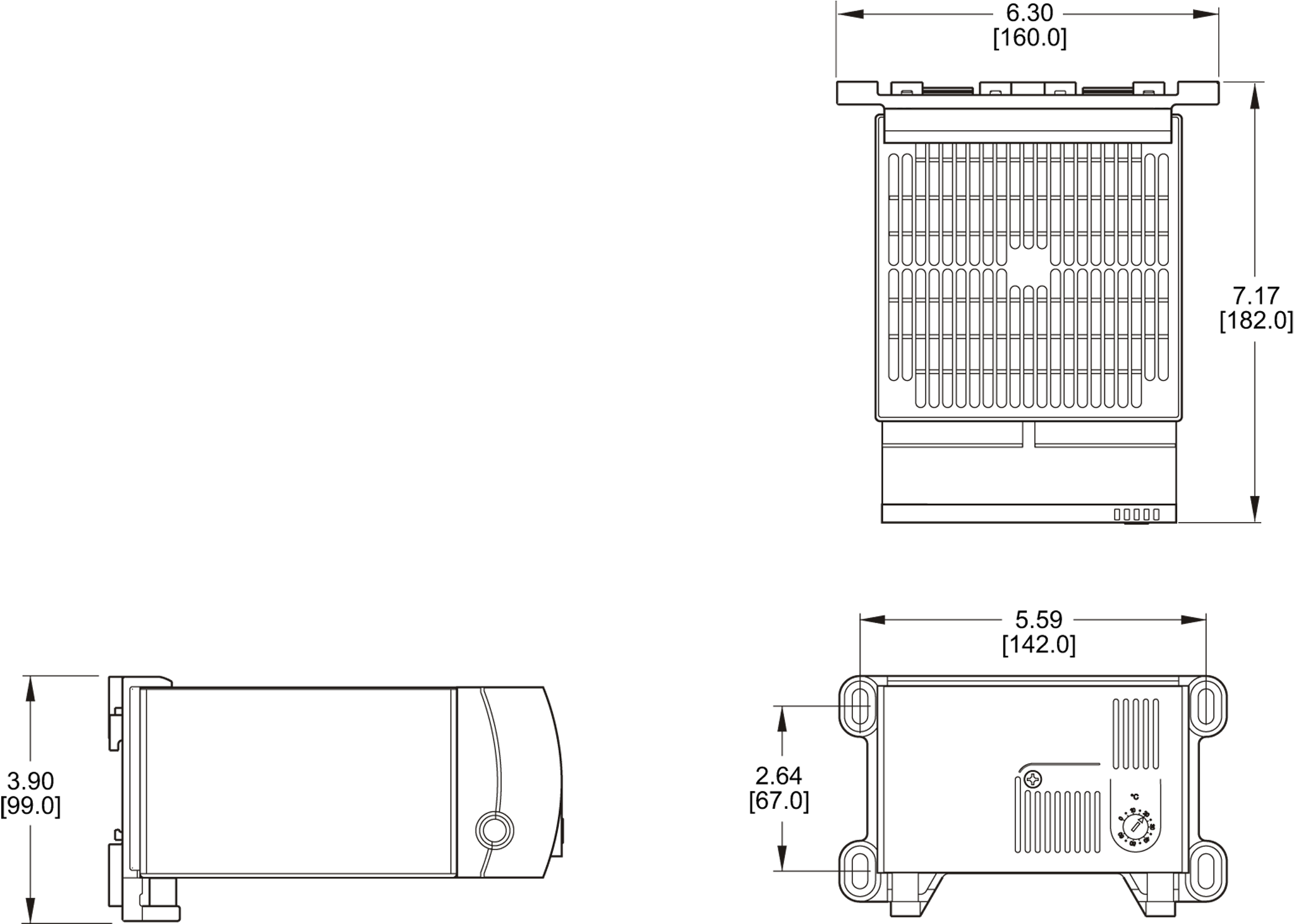 Panel-Mounted Heater General Arrangement Drawing