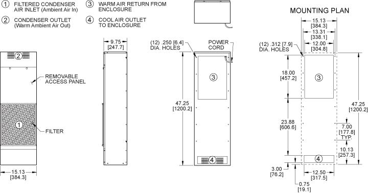 TrimLine KXNP47 Heat Exchanger general arrangement drawing