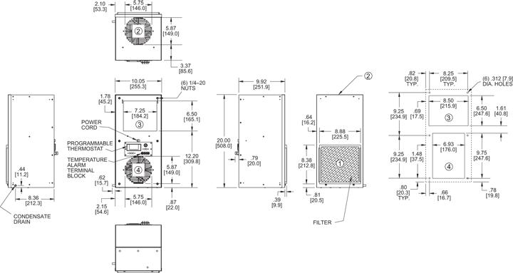 Narrow-Mini Air Conditioner general arrangement drawing