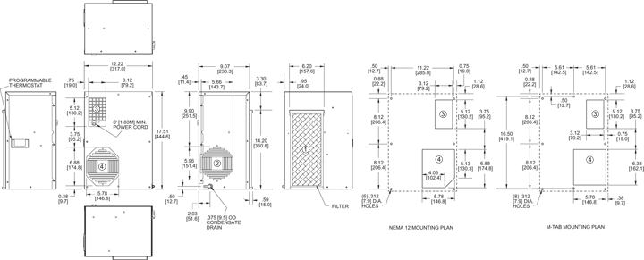 TrimLine NP17 Air Conditioner general arrangement drawing
