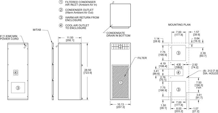 TrimLine NP28 (Dis.) Air Conditioner general arrangement drawing