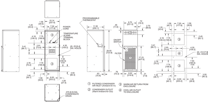 TrimLine NP28 Air Conditioner general arrangement drawing