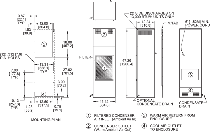 TrimLine NP47 (Dis.) Air Conditioner general arrangement drawing
