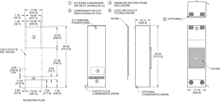 TrimLine NP59 (Dis.) Air Conditioner general arrangement drawing