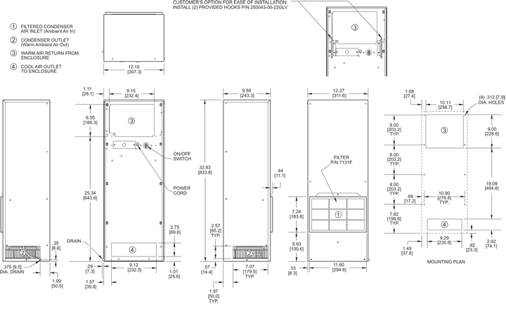 TrimLine NPT33 Air Conditioner general arrangement drawing