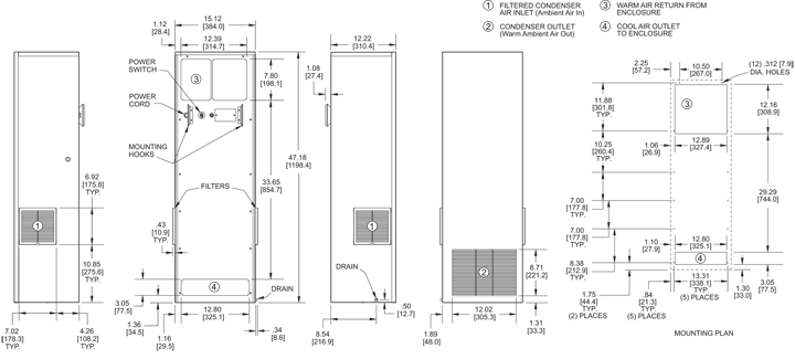 TrimLine NPT47 Air Conditioner general arrangement drawing