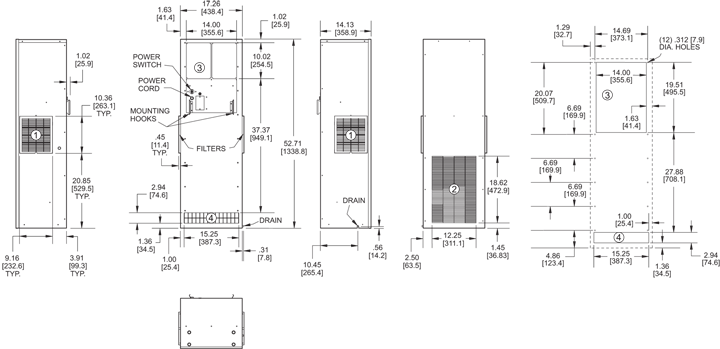 TrimLine NPT52 Air Conditioner general arrangement drawing