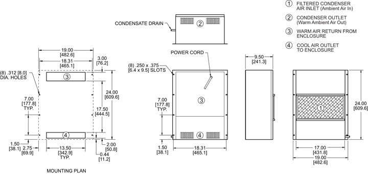 Traditional P24 Air Conditioner general arrangement drawing