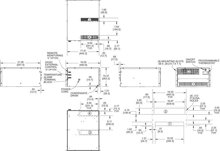 Rack-Mount Air Conditioner general arrangement drawing